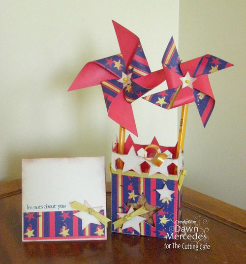 I'm nuts about you   Dawn Mercedes - Star box and Pinwheel sentiment set