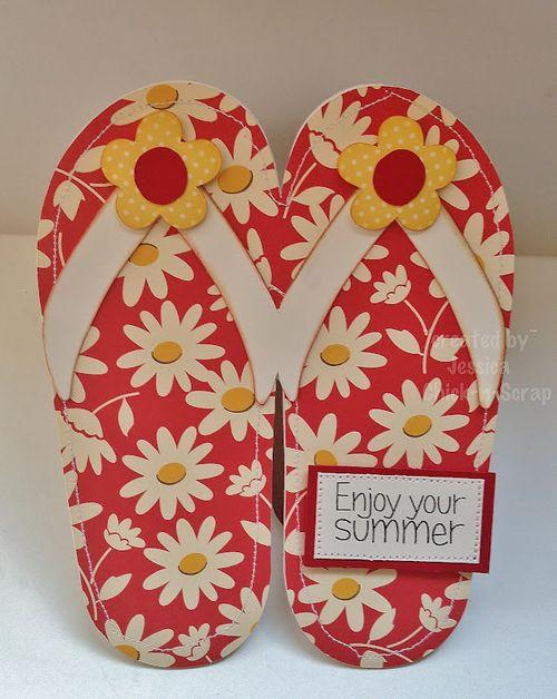 Enjoy your summer  Jessica Esch - flip flop shaped card