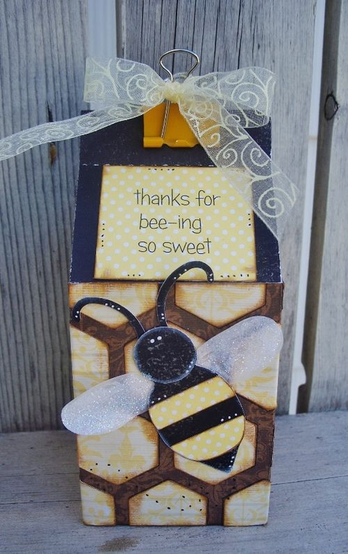 Thanks for bee-ing so sweet  Debbie Fisher - Hexagon shaped card set and beehive shaped card set and milk carton template