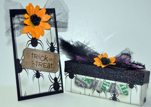 Trick or treat  Leslie Foley - Spider web background and hershey kiss window box