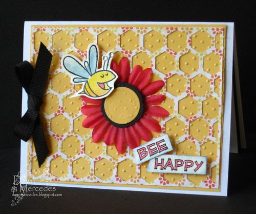 Bee happy   Dawn Mercedes - Hexagon shaped card set