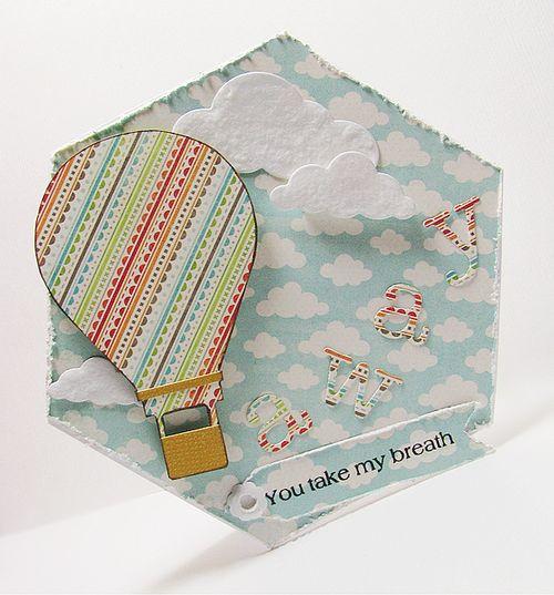 You take my breath away  Liliya Rytsar - Hot air balloon shaped card and Hexagon shaped card