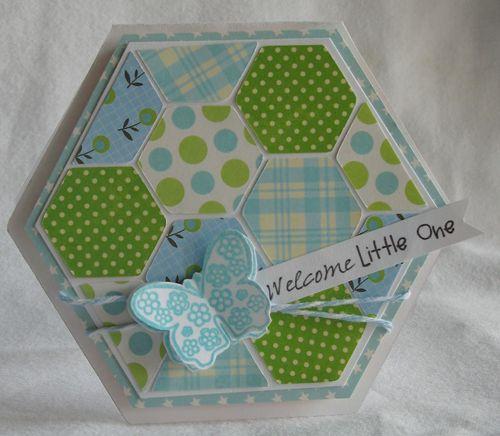 Welcome little one  Kerys Sharrock - Hexagon shaped card