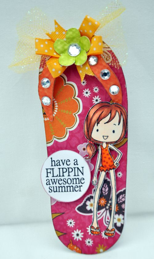 Have a flippin awesome summer  Leslie Foley - Flip flop shaped card and flip flop laundry line