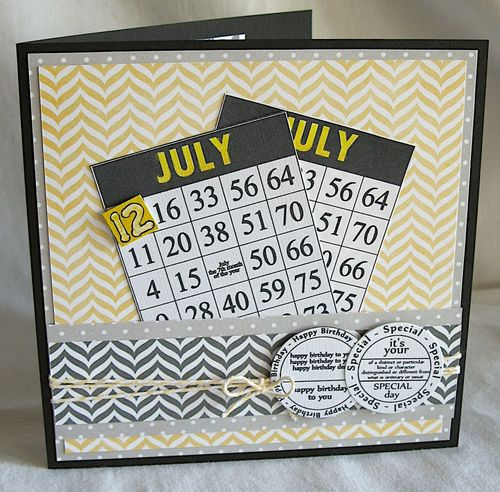July  Kerys Sharrock - Bingo card month and Birthday tags