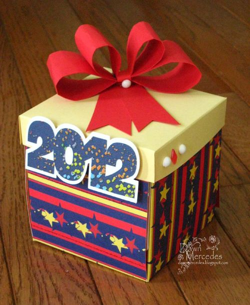 2012 box   Dawn Mercedes - bow tie ribbon template and 2012 shaped card