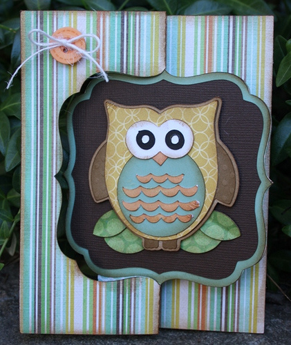 Owl card  Carolyn Wolff - owl shaped card