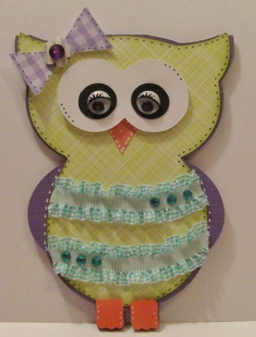 Owl Shaped card  Rhonda Zmikly - Owl shaped card