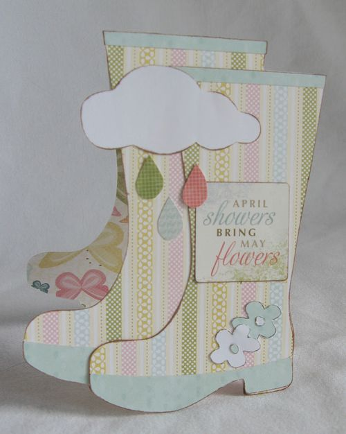 April showers   Kerys Sharrock - Rain boots shaped card