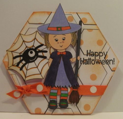 Happy Halloween  Rhonda Zmikly - Hexagon shaped card and Halloween All around and Mikala Ann being a good witch