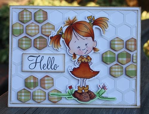 HELLO  Carolyn Wolff - Hexagon shaped card