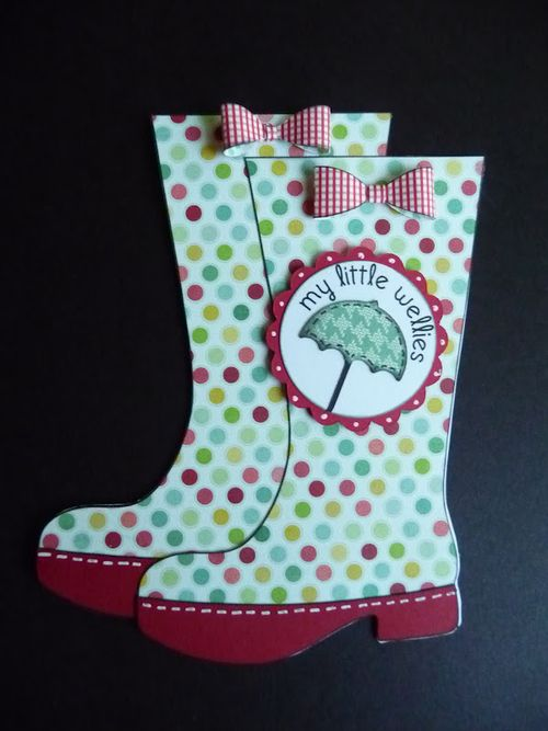 My little Wellies  Jeri Thomas - Rain boots shaped card