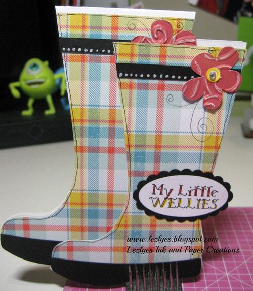 My little Wellies  Lezlye Lauterbach - Rain boots shaped card