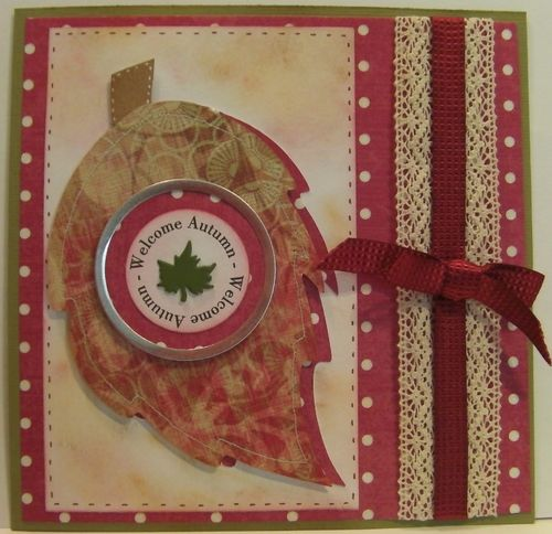Welcome Autumn  Rhonda Zmikly - Leaf shaped card
