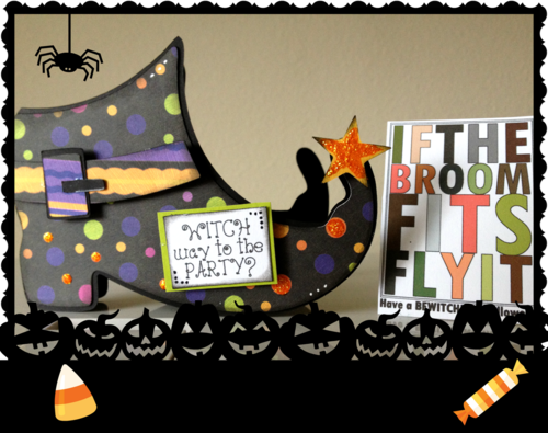 WITCH WAY TO THE PARTY  Debbie Crowder - Witch shoe shaped card