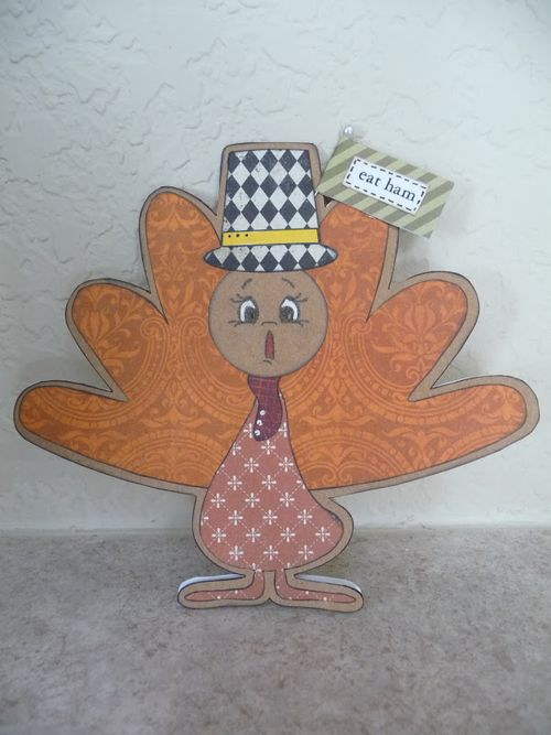 Eat ham  Jeri Thomas - turkey shaped card