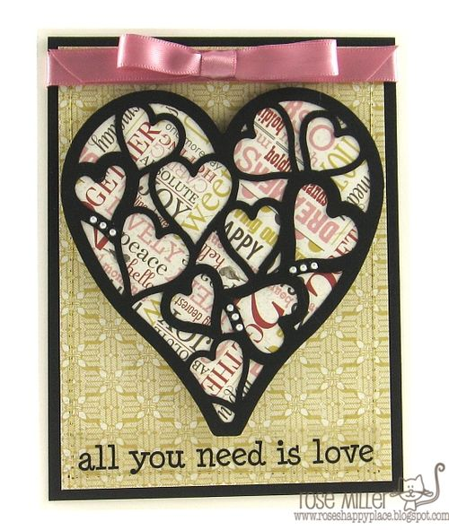 All you need is love  Rose Miller - Heart lace shaped card set