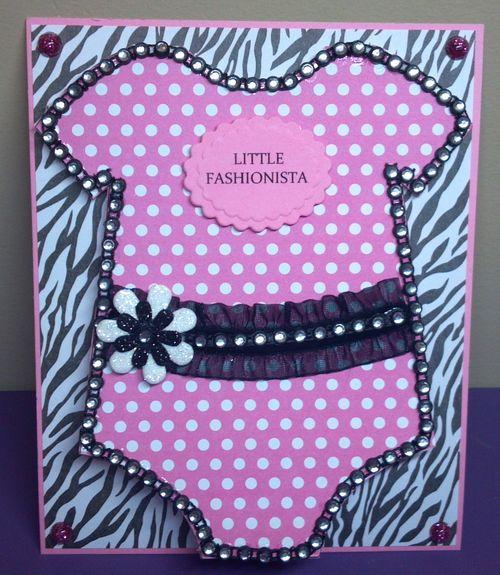 LITTLE FASHIONISTA Audrey Long - Onesie shaped card