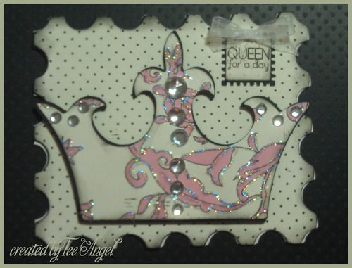 QUEEN for a day - Tee Angel - Crown shaped card and Postage stamp shaped card