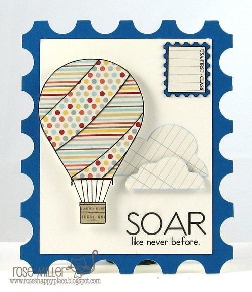 SOAR - Rose Miller - Postage stamp shaped card and Up Up in the sky wishes