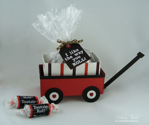 I like the way you roll - Deloris Thiede - Little red wagon and Candy sentiment set