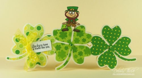 Lucky - Deloris Thiede - 4 leaf clover trio shaped card