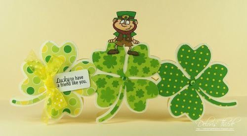 Lucky - Deloris Thiede - 4 leaf clover trio shaped card