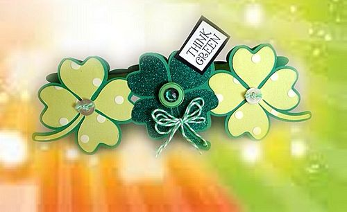 Think green - Misty Morgan - 4 leaf clover trio shaped card