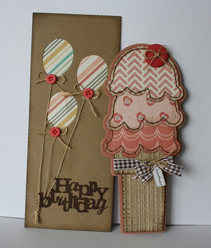 Happy Birthday -Carolyn Wolff - Tall ice cream shaped card and string and button envelope