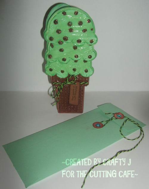 Wishing you a sweet day - Jeri Moody - Tall ice cream shaped card and string and button envelope