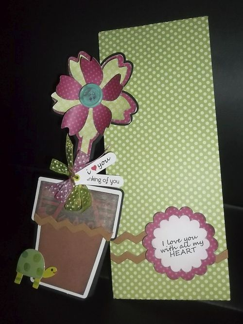 I love you - Doris Molina- Tall flower shaped card and string and button envelope