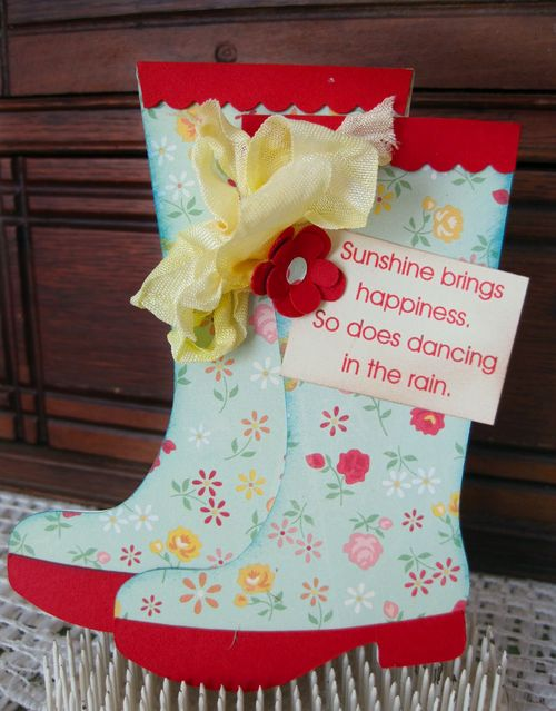 Sunshine brings Happiness   Lori Hairstion - Rain boot shaped card