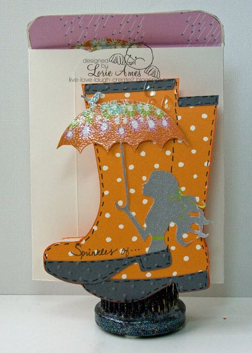Spinkle of    Lori Ames - Rain boots shaped card