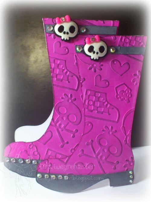 Skull boots  Suzi McKenzie - Rain boots shaped card