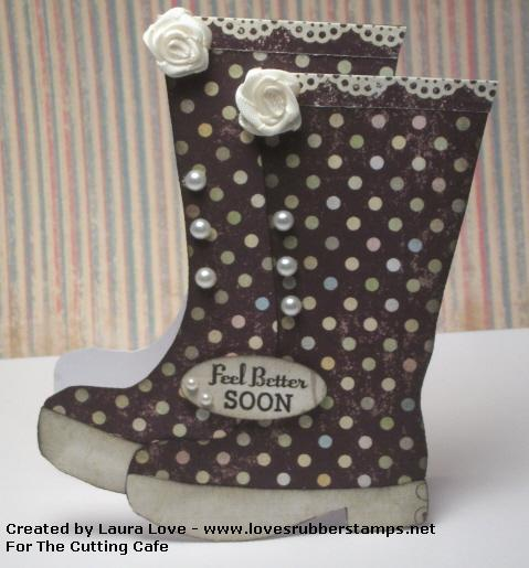 Feel better soon  Laura Love - Rain boots shaped card