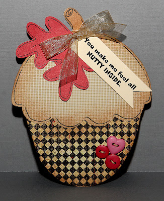 You make me feel all NUTTY INSIDE Karen Howard - acorn shaped card