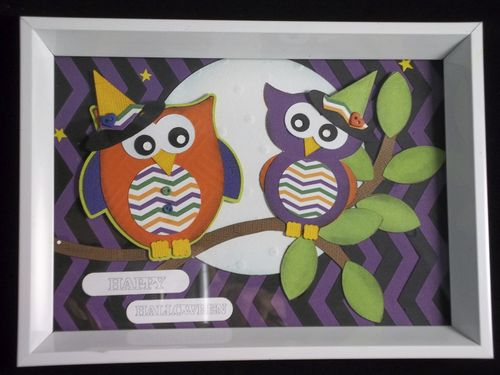 Happy Halloween Doris Molina Owl shaped card and chevron backgrounds