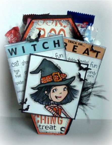 Witch  Jovita Torres - Halloween bingo and coffin treat box