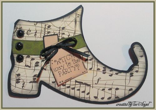 WITCH WAY TO THE PARTY  Tee Angel - Witch shoe shaped card
