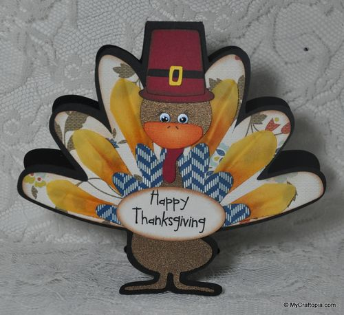 Happy Thanksgiving - Leslie Foley - Turkey shaped card