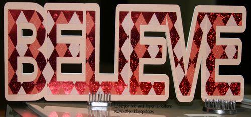 BELIEVE  Lezlye Lauterbaugh - believe word shaped card