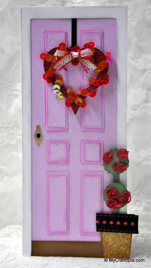 Heart  Leslie Foley - Front door shaped card