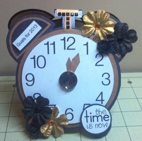 Goals for 2013  Audrey Long - Clock shaped card and 2013 calendar set