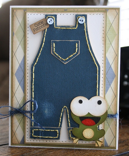 Cutie Patootie  Carolyn Wolff - Overalls shaped card and baby mini words