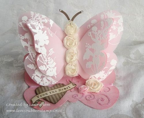 From the heart  Laura Love - butterfly shaped card