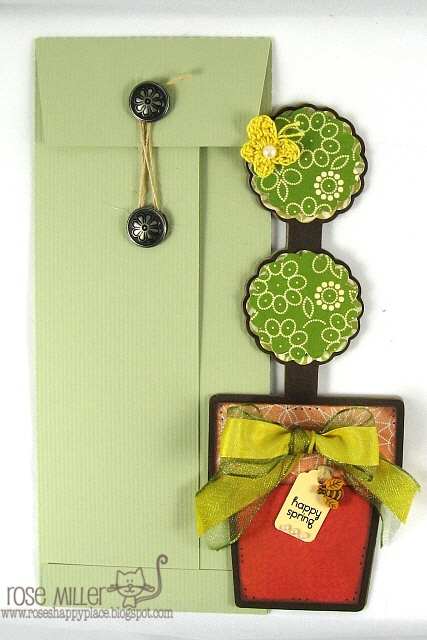 Happy Spring - Rose Miller - Tall flower shaped card and string and button envelope