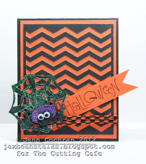 HALLOWEEN  Jenn Cochran - Chevron cutting file and spiderweb shaped card