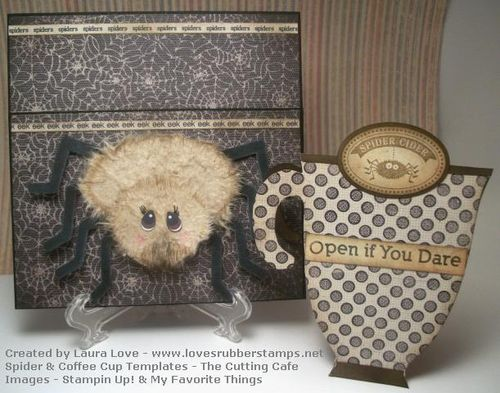 Open if you Dare  Laura Love - Coffee cup shaped card and spiderweb shaped card set