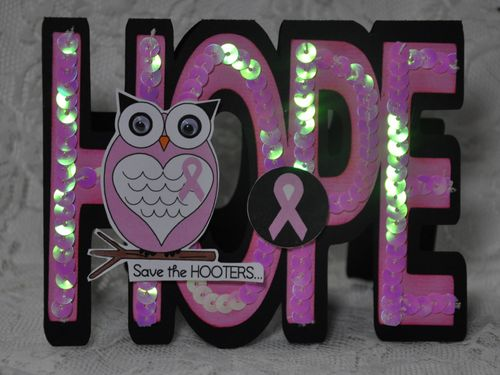 HOPE Leslie Foley - Hope word shaped card and think pink