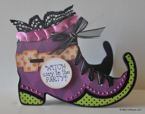 WITCH WAY TO THE PARTY  Leslie Foley - Witch shoe shaped card